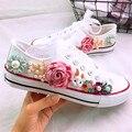 Koovan/Женская парусиновая обувь  белые кроссовки на толстой подошве со стразами и цветами для студентов  2018