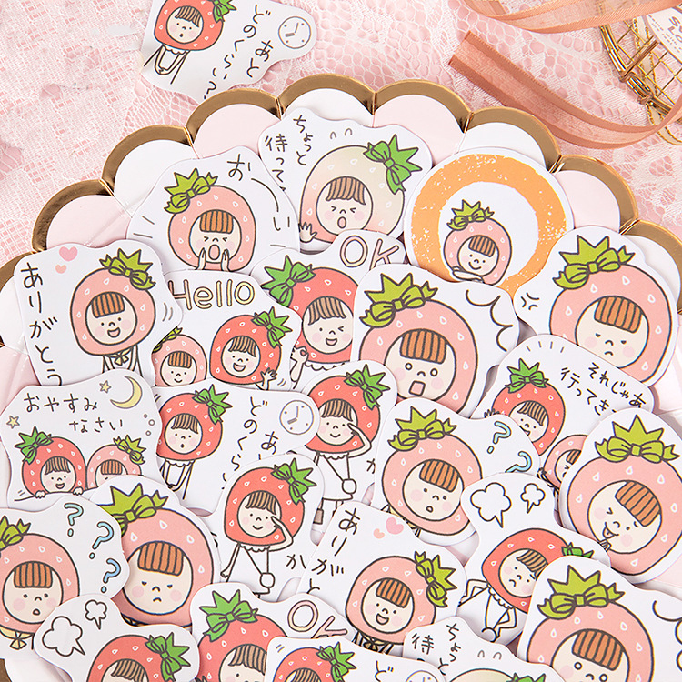 Mohamm Strawberry Sis Series Kawaii Cute Sticker Custom Stickers Diary Stationery Flakes Scrapbook DIY Decorative Stickers