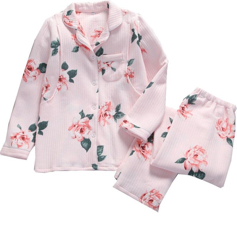 Autumn&winter Womens Pure Cotton Thickening Warm Pregnant Pajamas Suit Postpartum Lactation Nursing Garment Plus Size Pajama Set