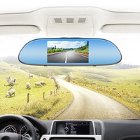HD 1080P Car Driving Recorder Display With 5 IPS Touch Screen Dual Lens Auto Reverse Parking