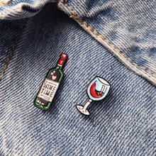 Mini Cute Wine Time Glasses Couple Pins Red Bottle Cup Brooches Enamel Pin Badge for Lovers Best Friend Small Gift