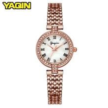 54b65848528 Marca de luxo YAQIN mulheres relógio de moda pulseira de relógio senhoras  relógio de aço inoxidável