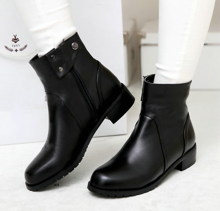 Black Leather Low Heel Ankle Boots   FP Boots