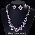 Moda Orejas Perforadas No Estilo de La Flor Roja Sintético CZ Diamond Pendientes de Clip Collar de Sistemas de La Joyería Para Las Mujeres JS130