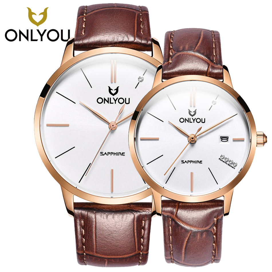 цена на Fashion Blue sapphire Week Display women watches Top Luxury Brand ONLYOU Men Full Steel Watches Couple Quartz Analog man Watches