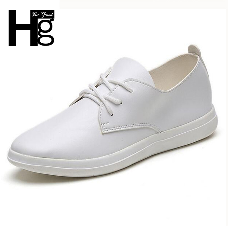 HEE GRAND Women Flats Lace up PU Leather Casual Shoes Black White Classic Cozy Autumn Platform Girls Shoes Woman XWC1195 hee grand 2017 new fisherman shoes woman spring silver loafers casual flats lace up creepers platform women shoes xwd5625