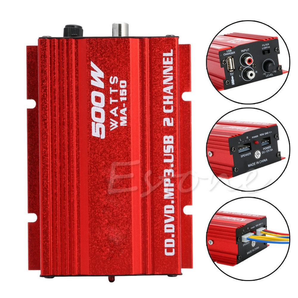 Free Delivery 2018 Mini Hi-Fi 500W 2 Channel Stereo Audio Amplifier For Car Auto Motorcycle HOT