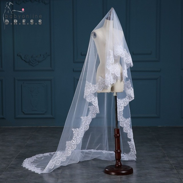 Veu De Noiva Ivory White  Meters Lace Appliques Wedding Veil Long One Layer Tulle Chapel