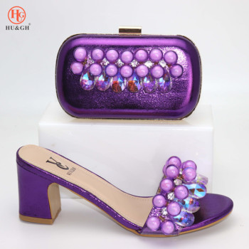Fashion Women Purple color Shoes And Bag Set To Match High Quality Italian Shoes With Matching Bags For Party High Heels Slipper