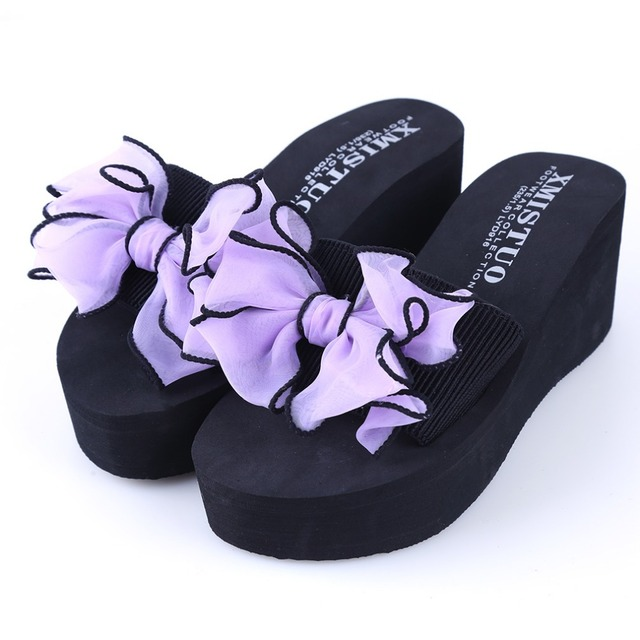 bdf697cd598cd8 New Summer Non-Slip Sandals Female Slippers For Women Flip-Flop Sandals Bow  Platform Indoor Flip Flops Slippers Sandals Hot Sale