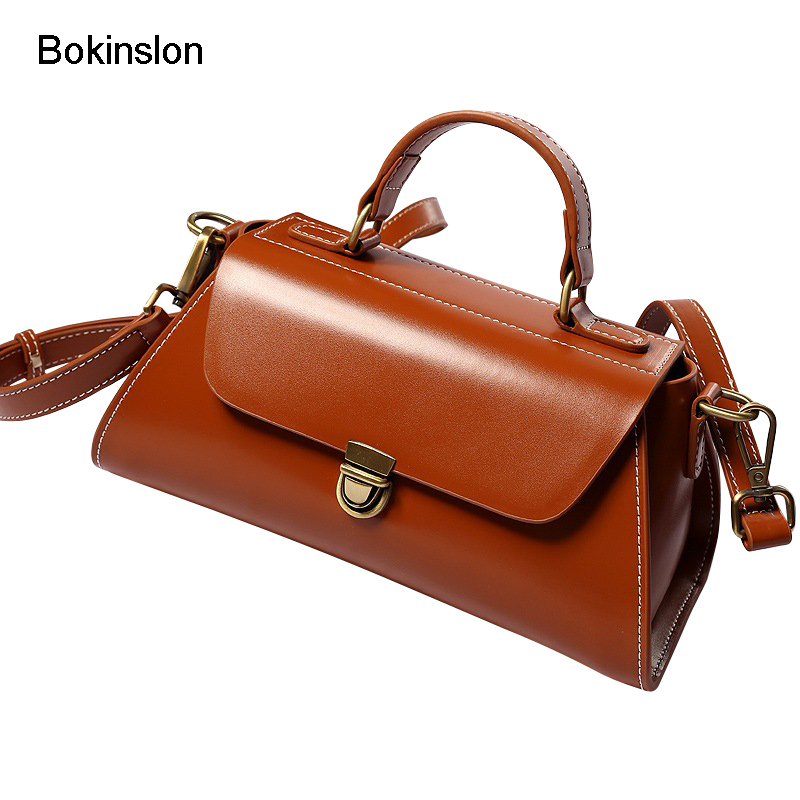 Bokinslon Shoulder Woman Bags Split Leather Small Fresh Female Crossbody Bags Literature And Art Simple Ladies Handbags Bags new woman shoulder bags cute canvas women big bags literature and art cartoon girls small fresh bags casual tote