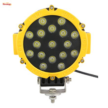 7 Inch Round 51W Black Yellow Red LED Front Bumper Light for Offroad Wrangler 4*4 SUV ATV