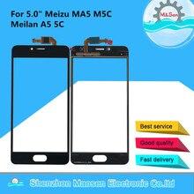 """5.0 """"המקורי M & סן לmeizu MA5 M5C קדמי זכוכית מגע מסך פנל Digitizer לmeizu M5C MA5 מגע מסך חיישן Digitizer"""
