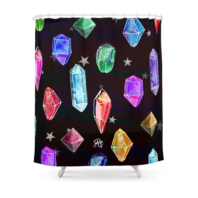 Crystals And Glitter Stars Shower Curtain Set Bath Curtain For Bathroom With Non-slip Floor Mat