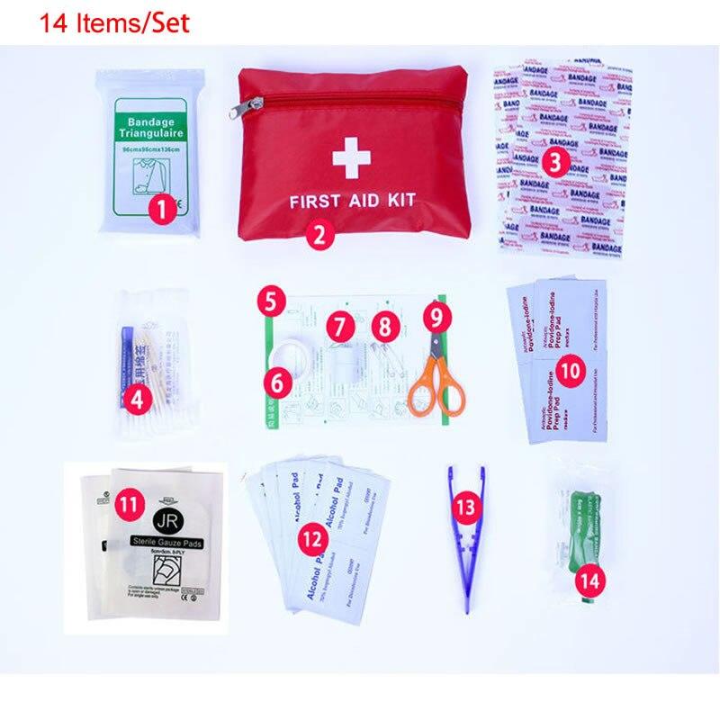 Портативная водонепроницаемая аптечка первой помощи на открытом воздухе для семьи или путешествий, 14 предметов/комплект