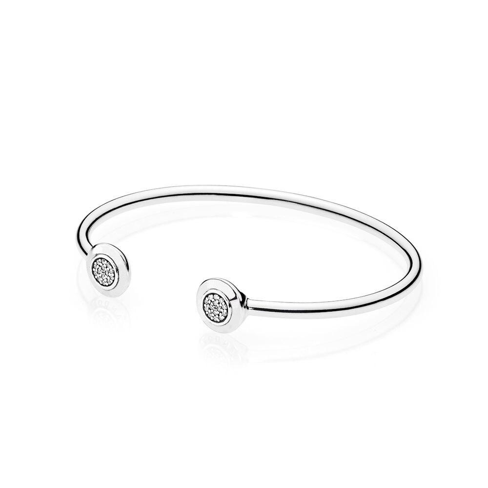 COSEN 20180Pan New 1:1 Original 925 Sterling Silver Bracelet Signature Bangle Bracelet, Clear CZ Jewelry for Women Gift 590528CZ
