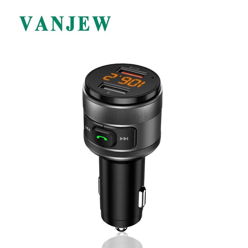 VANJEW C57 charge Rapide 3.0 De Voiture Bluetooth Transmetteur FM Double Ports USB Chargeur De Voiture FM Modulateur MP3 Lecteur De Voiture Briquet mains libres