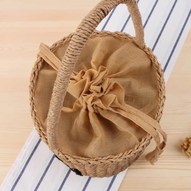 Moda de Nova Marca Mulheres Bolsa de Palha do Verão Feminino Balde Saco Do Desenhador Bolsas de Vime Redonda Pequena Sacola de Praia Retro Estrela