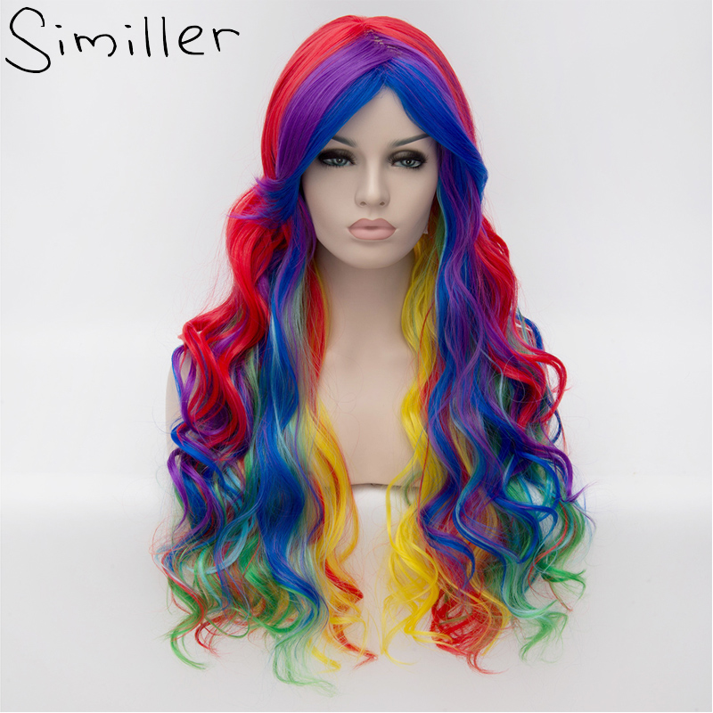 Similler 28 Inch Long Rainbow Big Wavy Ombre Cosplay Synthetic Wig For Women Colorful Hair Heat