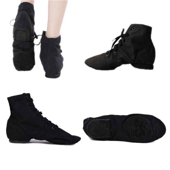 Brand New Sale Top Modern Canvas Jazz Ballet Dance Shoes Split Heels Soft Sole For Men Women DS002-Size 8.5 to 12.5 Black