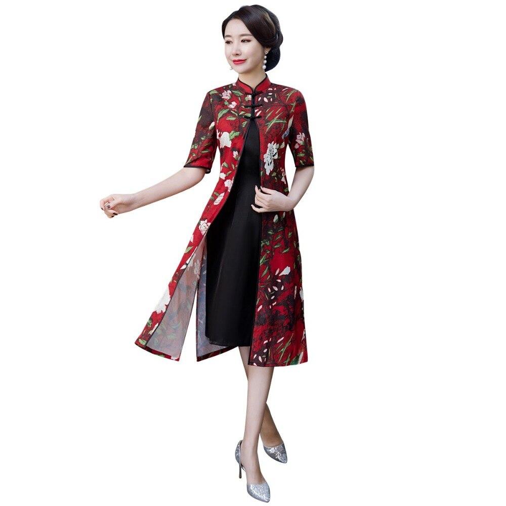 Shanghai Story Aodai Style Vietnam Dress Chinese Traditional Dress Half Sleeve Cheongsam Dress Knee Length Qipao Dress