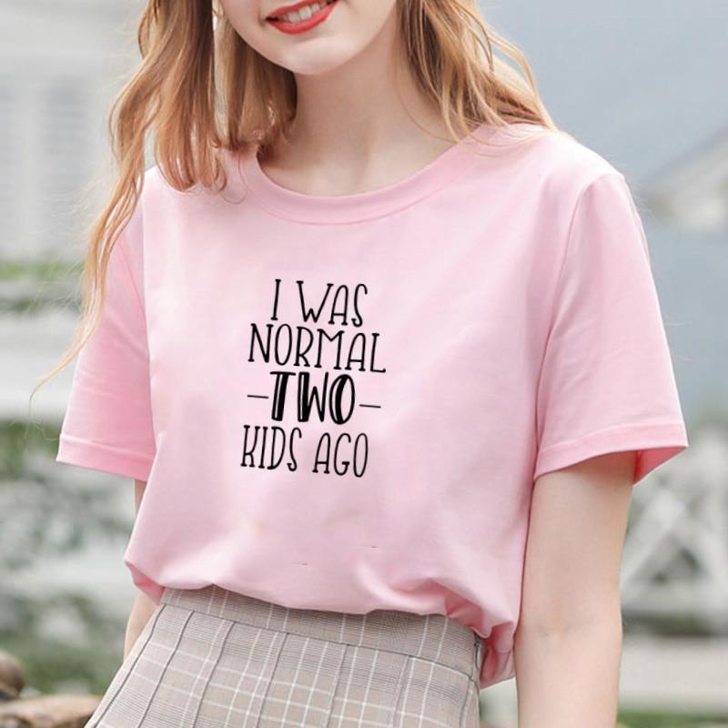 I WAS NORMAL Printed Short Sleeve   T  -  shirt   Women Summer O-neck Cotton   T     Shirt   Women Casual Loose Tee   Shirt   Femme Black & White