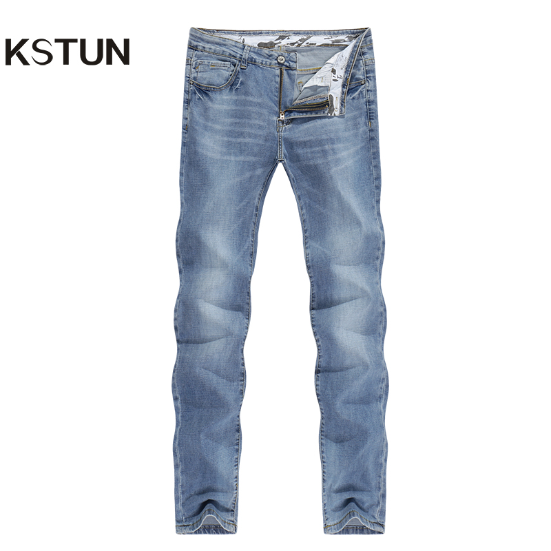 2019   Jeans   Men Fashion Business Casual Straight Slim Fit Ultrathin Breathable Stretch Retro Blue Summer Denim Pants Large Size