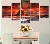 HD Printed Mountains Volcano Sea Ocean Painting Canvas Print Room Decor Print Poster Picture Canvas Wholesale