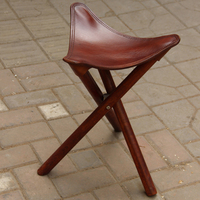 Portable Three Leg Wood Artist Folding Stool W Saddle Leather Seat Living Room Furniture Wooden Tripod