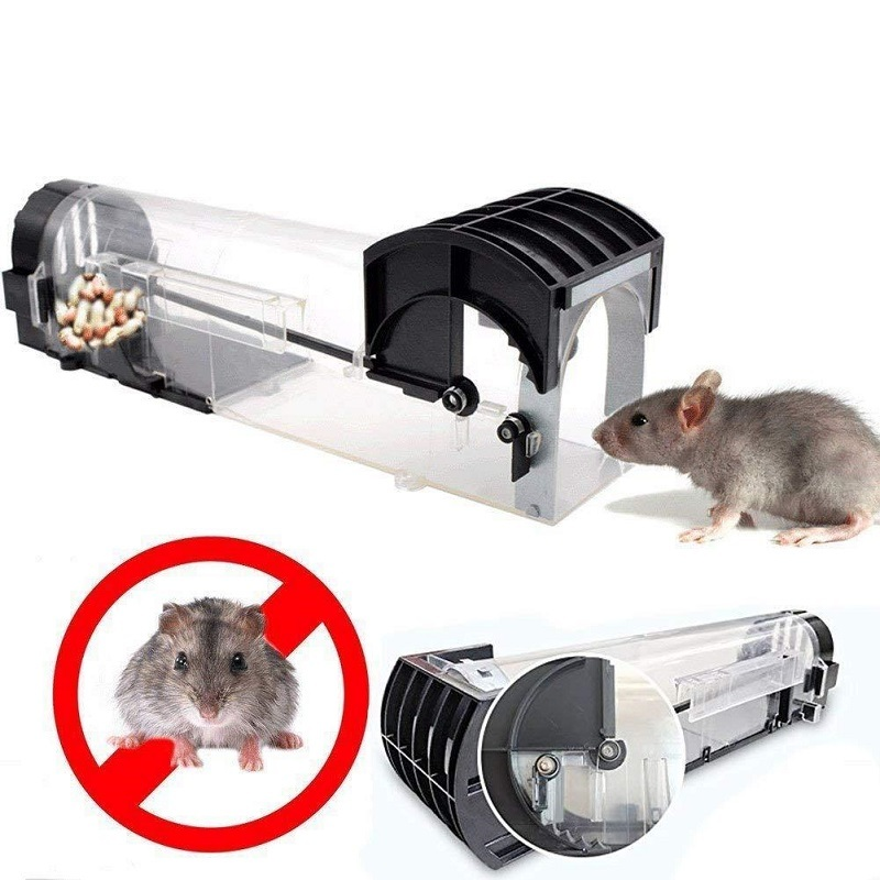 Nontoxic Rat Cage Catch Mice Rodent Control Catch Bait Hamster Mouse Trap Transparent Humane Live Mousetrap