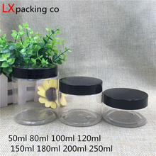 30 pcs Free Shipping 50 100 150 180 200 250 ml Cream candy Plastic Packaging Bottle Black Lid jar pill  Spice Container Bank