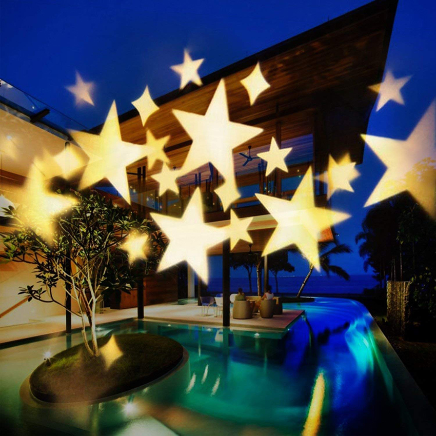 Outdoor Moving Warm Sky Star Laser Projector Lamp Christmas Star DJ Diso LED Stage Lamp Landscape Lawn Garden Projector Lamp