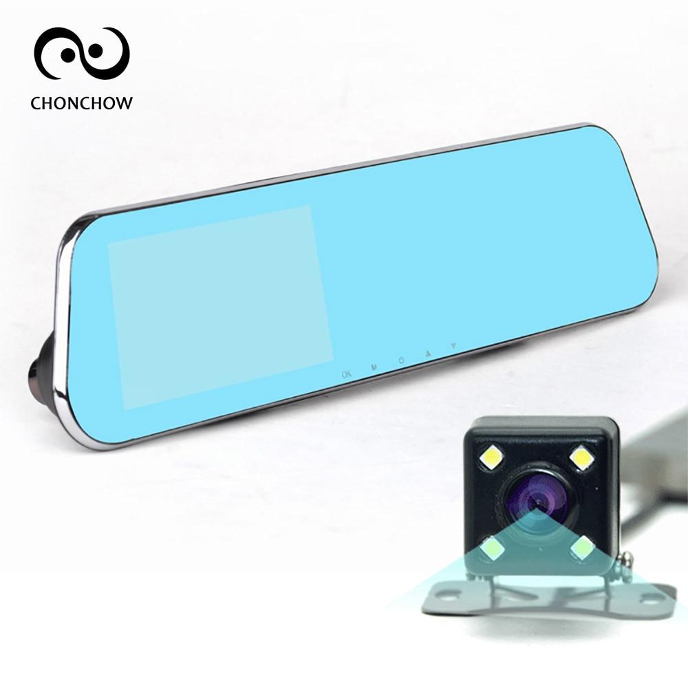 ChonChow Car Blue Rearview Mirror Camera Dvr Full HD 1080P Digital Video Recorder With Dual Lens/Cameras Auto Dash Cam