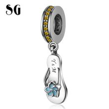 SG New 100% 925 sterling silver Blue Enamel &Yellow CZ Slippers Charms Cute Pendant beads Fit pandora Bracelet for Women Jewelr