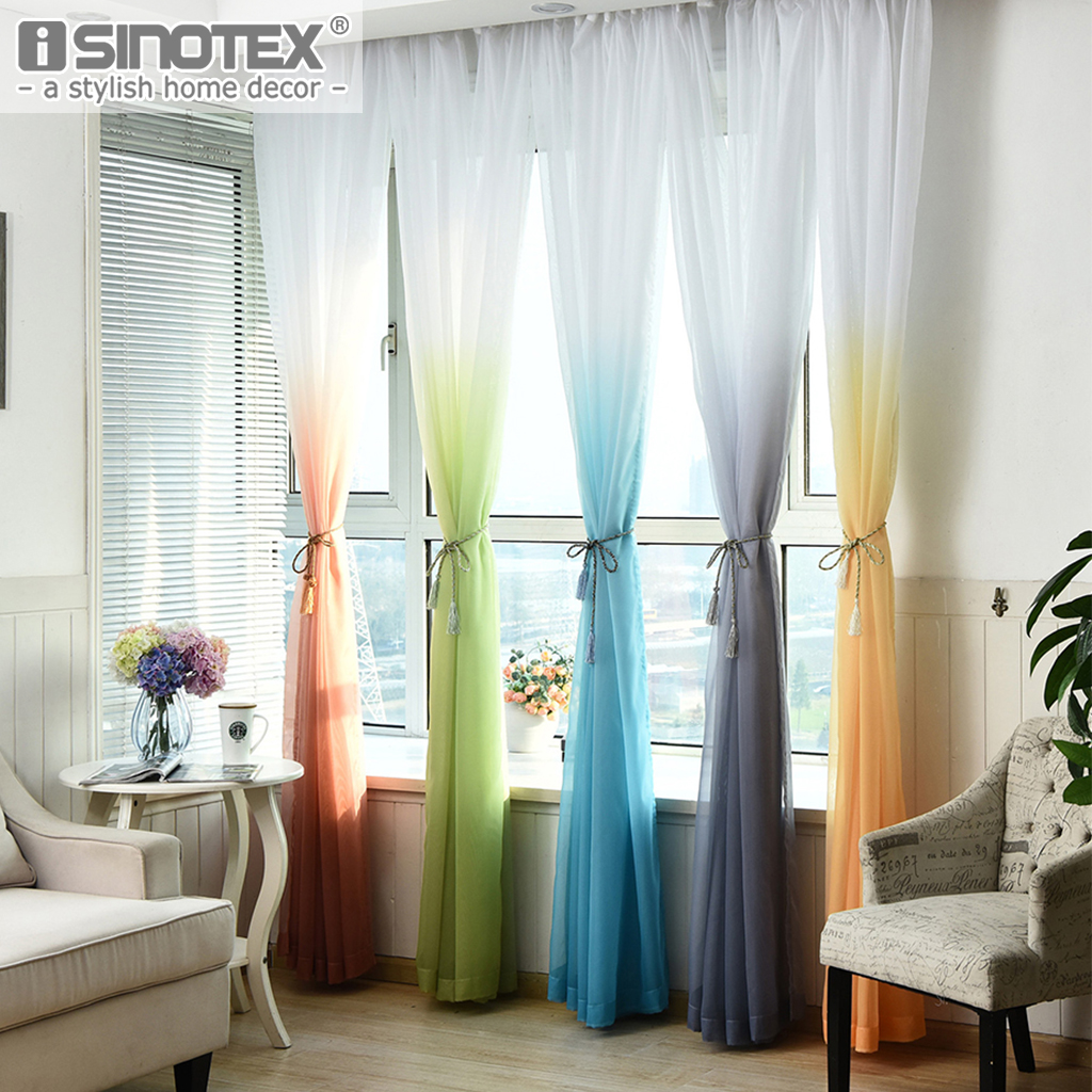 Window Curtain Voile Sheer Curtain Rainbow General Color Changing Tulle Fabrics for Bedroom Living Room Kid Bedroom Drape Panel