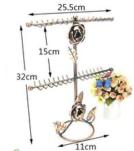 3style Double-deck rose Jewelry Display Stand Holder Earring Metal Frame Necklace Accessories Storage 1pc C175