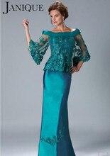 Boot-ausschnitt Mutter der Braut Kleider 2017 Satin Applique 3/4 Ärmeln Mantel Elegante Mutter Abendkleider 5301734