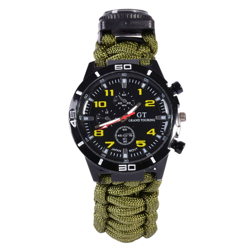 5 in1 Outdoor Camping Travel Kit Watch With Survival Flint Fire Starter Paracord Compass Emergency Rescue Whistle Ropes