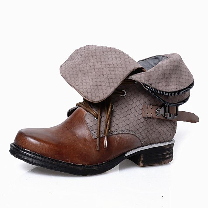 f28ffca6 Kobiety w stylu Vintage buty zimowe buty do kostki ze skóry naturalnej 3 cm  mieszkania Bota Feminina powrót pasek botki duży rozmiar 42 Zapatillas  Mujer w ...