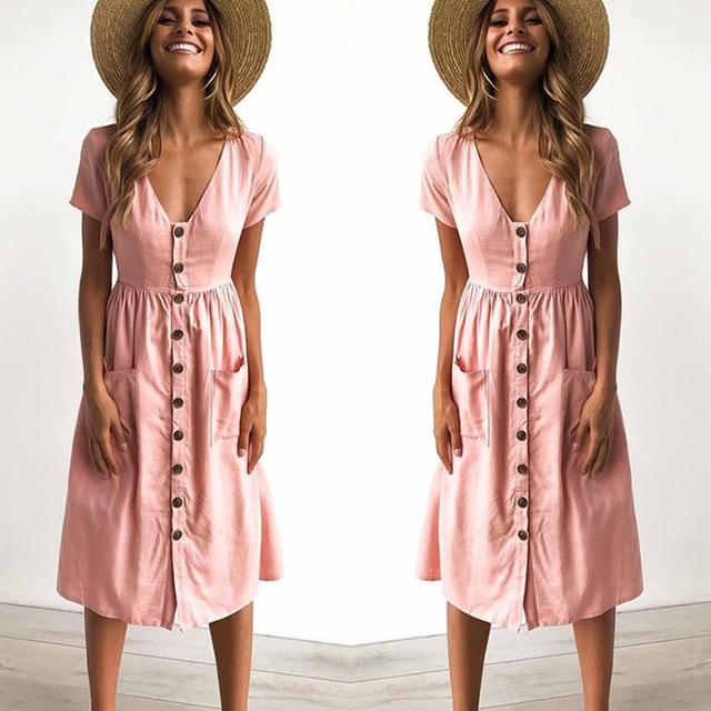 2018 Женская мода лето короткий рукав V образным вырезом на пуговицах качели Миди платье с карманами пляжное летнее платье