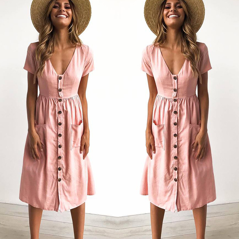 58795fc17a227 US $13.89 |2018 Women's Fashion Summer Short Sleeve V Neck Button Down  Swing Midi Dress with Pockets Beach Summer Dress-in Dresses from Women's ...