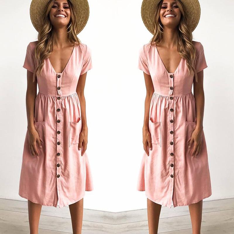 2018 Women's Fashion Summer Short Sleeve V Neck Bu...