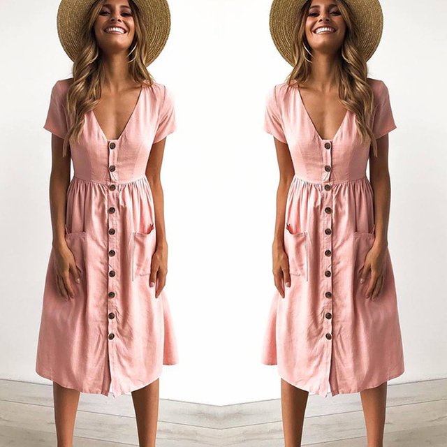 c5d1b75a123 2018 Women s Fashion Summer Short Sleeve V Neck Button Down Swing Midi Dress  with Pockets Beach Summer Dress-in Dresses from Women s Clothing on ...