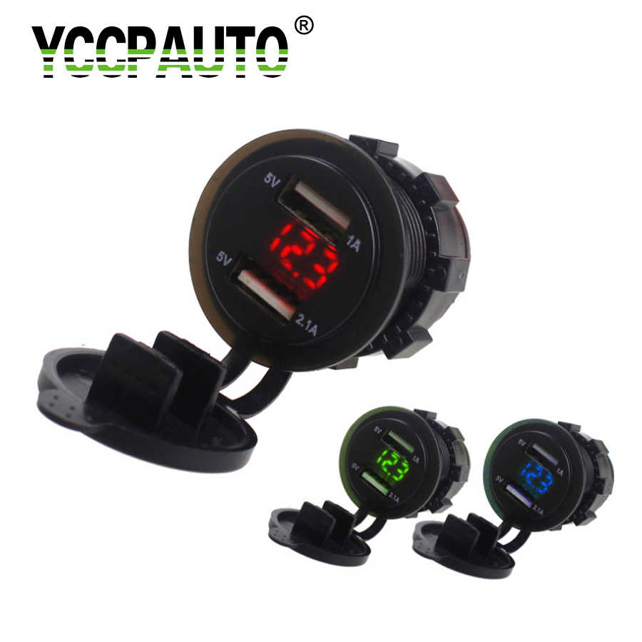 YCCPAUTO Car USB Charger Dual Port Socket 5V 2.1A/1A Car Voltmeter Power Adapter for Motorcycle Auto ATV Boat Charger 12V-24V