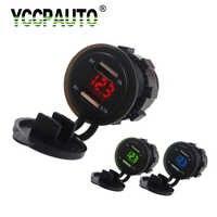 YCCPAUTO Caricabatteria Da Auto USB Dual Port Presa 5 v 2.1A/1A Auto Voltmetro Adattatore di Alimentazione per Auto Moto ATV barca Caricatore 12 v-24 v