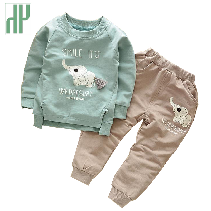 HH Toddler boy clothes spring Cartoon girls Sets Long Sleeve Shirt+elephant pants children clothing fall boutique kids clothing