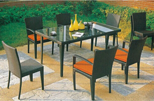 Outdoor patio garden dining set furniture in wicker materials