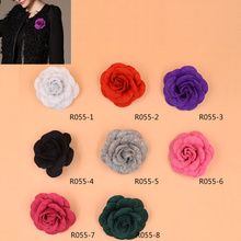 Lychee 1 piece New Arrival Multi Color Women Camellia Flower Brooch Pin Wedding Party Lapel Pin