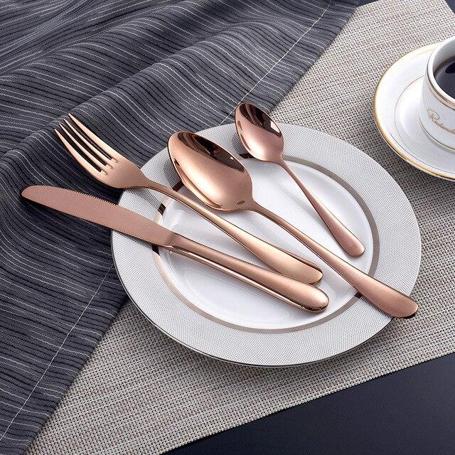Juego de vajilla de oro rosa, juego de cubiertos de acero inoxidable, 4 cuchillos de oro, cubiertos, cuchillos de oro y plata, paquete de cena estilo europeo