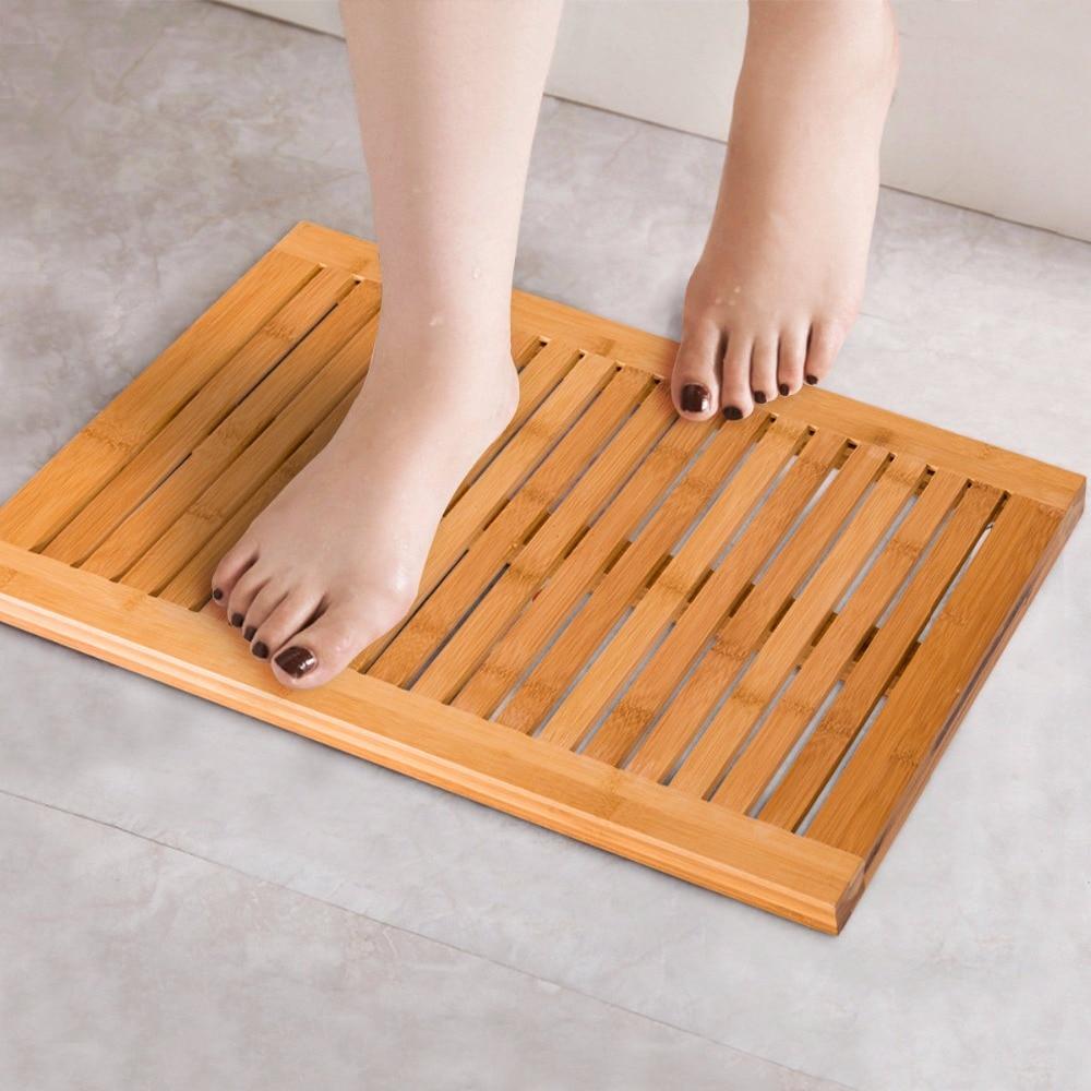 Giantex Bamboo Shower Mat Bathroom Bath Floor Mat Spa Sauna Non Slip and Mold Resistant BA7272